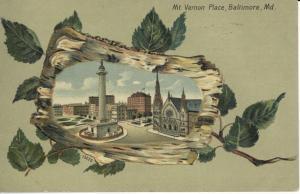 Vignette postcard of Mt. Vernon Place, c. 1910